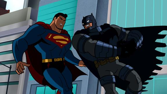 superman, batman, fight, vs, cartoon