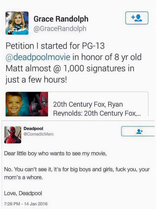 deadpool, deadpool movie, pg-13, pg 13, petition